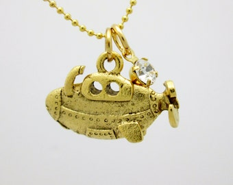 Submarine Necklace, Gold Submarine Charm with Crystal Accent, Nautical Themed Jewelry B055