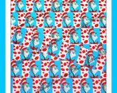 """New 3 yards 7/8 """" inch Seuss -ical Cat Hat on Turquoise Blue White Red HAT Grosgrain Ribbon Sewing Hair Bows Invitations Scrap Booking Thing"""