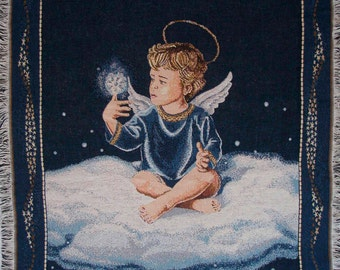 Christmas Angel Tapestry, Wall Hanging, Boy Angel, Angel Throw, Lap Blanket