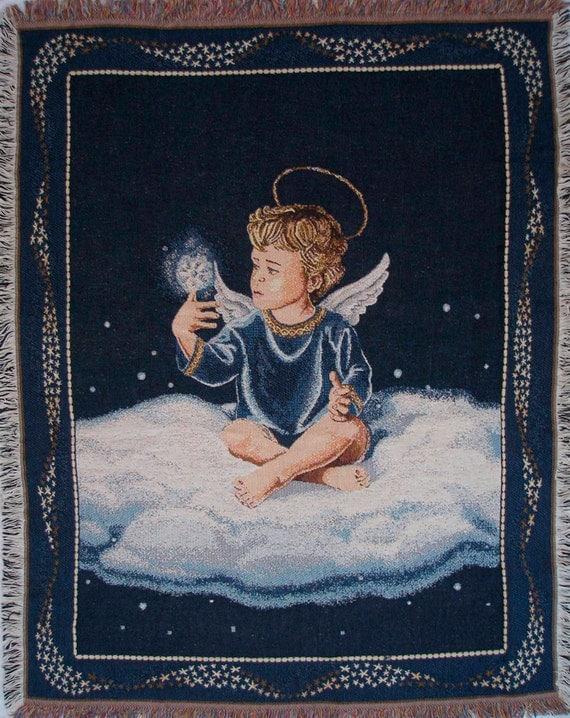 Christmas Angel Tapestry, Wall Hanging, Boy Angel, Angel Throw, Lap Blanket