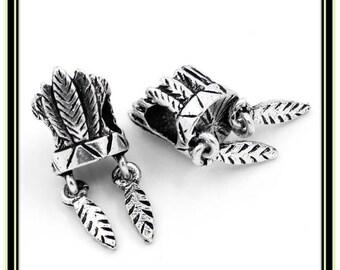 Indian Headress Charm - Fits European Style Bracelets