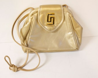 Vintage Leather Purse - 1980s gold toned Leather crossbody Purse