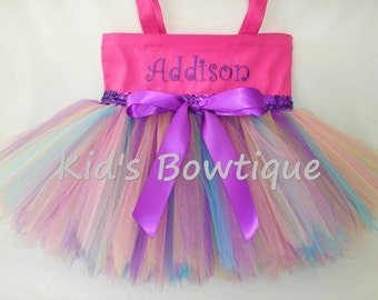 PINK Rainbow Fairy with Purple Sequins and Bow Monogrammed Tutu Tote Bag - Personalized Tutu Bag