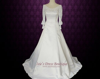 Long Sleeves Wedding Dress Modest Wedding Dress with Detachable Train | Francine