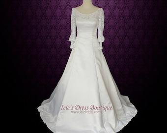 Long Sleeves Wedding Dress Modest Wedding Dress with Detachable Train | Francine