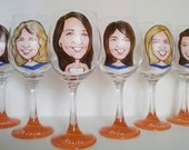 Maid of Honor Gift - Hand Painted Wine Glass - Original Custom Caricature Glasses (tm) -  Personalized