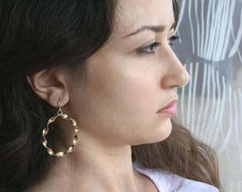 Gold Hoop Earrings - Twisted Hoop Earings - 18k Gold Plated Hoops - Large Hoop Earrings   Handcrafted Jewelry