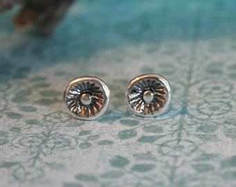 Silver Stud Earrings - Flower Shape Earrings - Oxidized Silver - Sterling Silver Earrings | Handcrafted Jewelry
