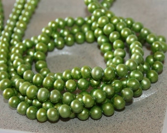 5.5-6mm Green Fresh Water Pearl Round Potato Shape 16 inches Strand
