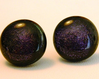 Dichroic Fused Glass Post Earrings, Purple sparkle, EP11