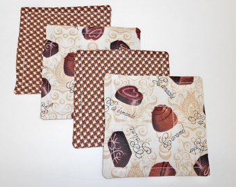 Drink Coasters Set Reversible Chocolate Candy Fabric by SEW FUN QUILTS
