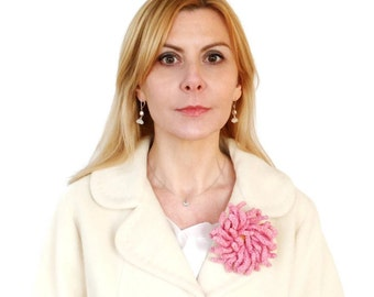 Knitted Flower Brooch Pink Crysanthemum Large Felted Wool Pin Textile Jewelry