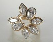 Fine Vintage Marquise and Pear Shape Diamond Cocktail Ring- 1.95 Carats - Appraisal Included