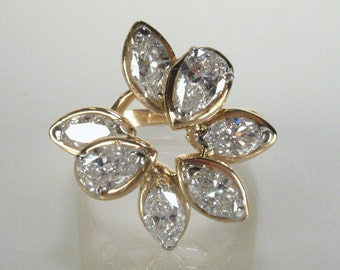 Fine Vintage Marquise and Pear Shape Diamond Cocktail Ring- 1.95 Carats - 5320.00 USD Appraisal Included