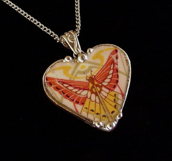 Broken China Jewelry Heart Pendant By Dishfunctionldesigns