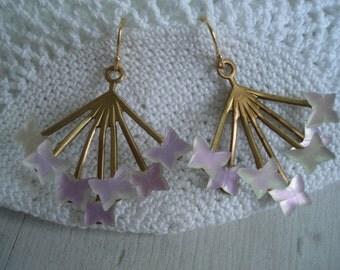 Butterfly Totem Medicine Vintage 1920s Art Deco Rose Matte Glass Gold Starburst Earrings Native Tribal Inspired