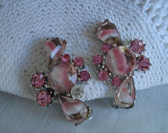 Vintage 1950's 1960's Pink Givre Rhinestone Silver Clip Earrings