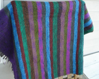 Vintage Striped Native Tribal Inspired Wool Shawl Throw Purple Turquoise