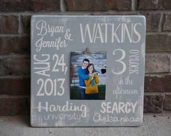 Custom Personalized Distressed Wedding Bride and Groom Photo Holder Wooden Sign YOU CHOOSE COLORS