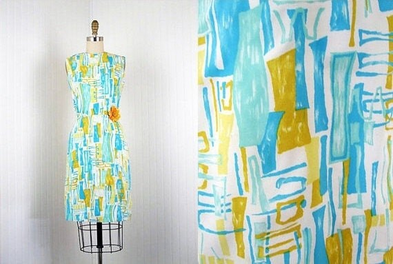 CLEARANCE SALE 1950s Dress - 50s Vintage Mad Men Designer Midcentury Modern Novelty Print Aqua Mustard Wiggle Dress S - Babe Bamboo