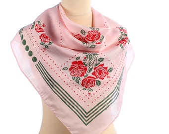 Red ROSES Print Scarf . Vintage FLORAL Neck Scarf Pink 1960s Mod Scarf Green Rose Printed Muffler Urban Retro Casual Neckwear Women Gift