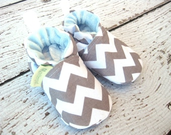 SALE Classic Vegan Chevron Grey And Blue / All Fabric Soft Sole Baby Shoes / Made to Order