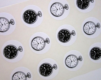 Pocket Watch Stickers One Inch Round Seals