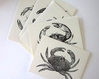Crab Note Cards Set of 10 with Matching Envelopes