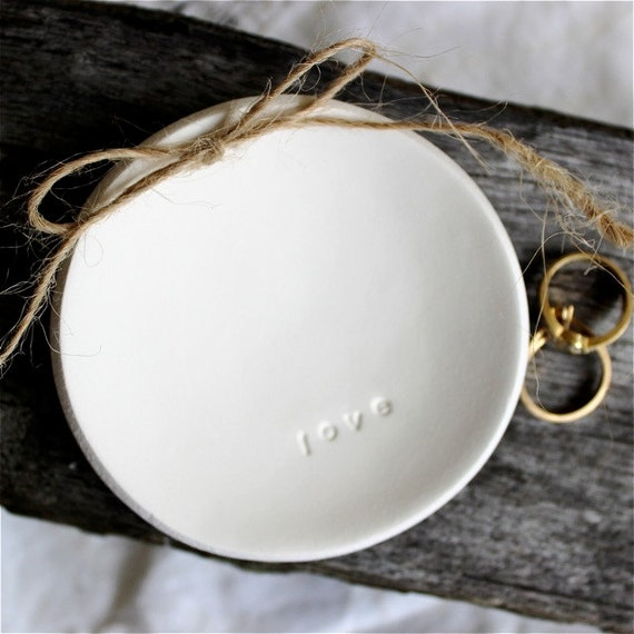 LOVE Round Wedding Ring Keeper Ring Dish Heirloom