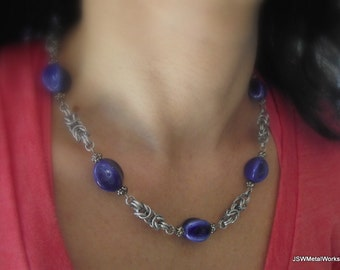 Cobalt Blue Byzantine Set, Aluminum Chainmail Necklace and Earrings