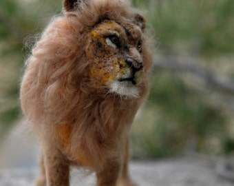 Needle felted Animal.  Lion. King of Beasts.