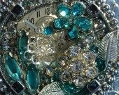 Vintage Costume Jewelry Steampunk Belt Buckle Watch Gears and Aqua Blue