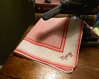 """Vintage Hankie/Hanky Concentric Red and White Squares Embroidered Mary: """"Mary, Mary"""""""