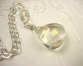 Golden Shadow Swarovski Crystal Sterling Silver Necklace Minimalist Bright Shiny Sparkly