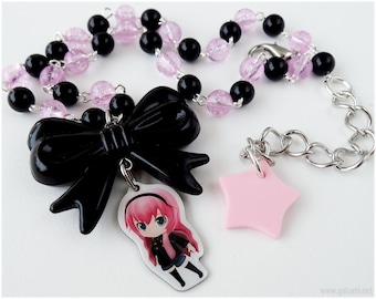 Vocaloid Luka Megurine Necklace, Black and Pink Chain, Silver Plated - Gamer, Gothic Lolita