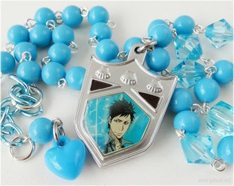 KHR Yamamoto Takeshi, Beaded Blue Necklace, Silver Plated - Anime Jewelry, Katekyo Hitman Reborn
