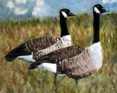 Goose Painting, Geese Painting, Bird Painting, Pair of Geese, Canadian Goose, Canadian Geese, Original Oil Painting, Goose Art, Helen Eaton