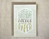 Birthday Card - Folded Paper