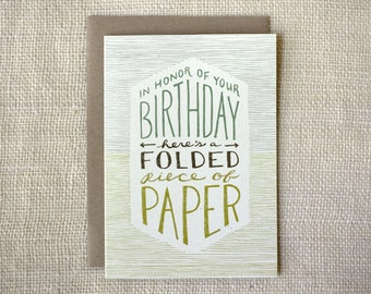 Birthday Card - Folded Paper