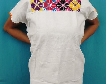 Mexican Top Blouse Fantastic Embroidered Handmade 100% Cotton Summer Spring Collection  Small / Medium