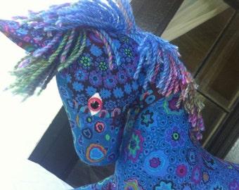 Plush Toy Pony, Blue Millefiore Kaffe Fassett Print