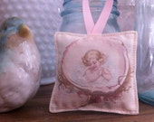 Cherub Seashell Lavender Sachet Pillow Hanging Decor