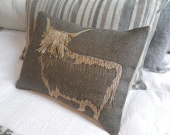 new hand printed and Highland cow with appliquéd fringe cushion