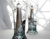 Lighthouse Hand Painted Glasses, Vase Home Decor Glassware Barware Pair