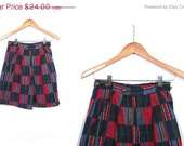 Vintage 90s On the Green Tartan Plaid Cuffed and High Waisted Preppy Shorts xs small