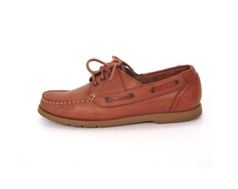 Vintage 80s Caramel Brown Leather Lace Up Nautical Loafers women 7.5