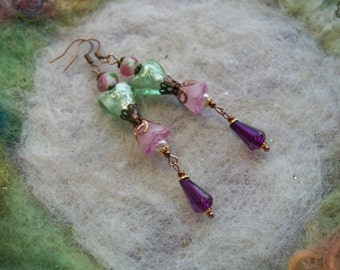 Dangle Earrings, Lamp Work Heart Beads, Green and Pink