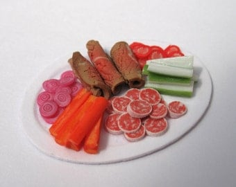 Dollhouse Miniature Food Meat and Vegetable Platter in 12th Scale