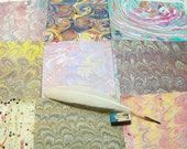 marbled  paper Pack  9  card making   scrapbook  papier marbrè  marmorpapier  -  9,75