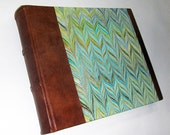 Marbled paper & Leather photo album made in Italy.  Hand crafted Florentine style -  SIZE: 9,36